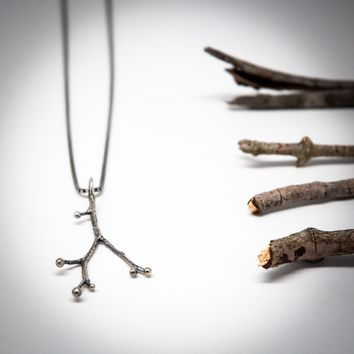 Sterling Silver Rose Berry Twig Branch Necklace