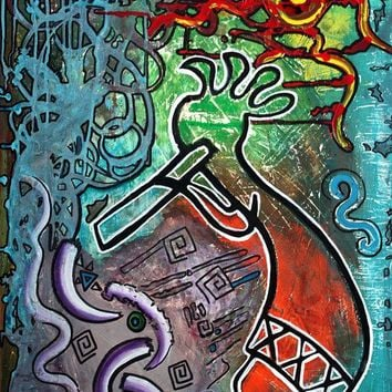 Kokopelli  Painting by Laura Barbosa - Kokopelli  Fine Art Prints and Posters for Sale