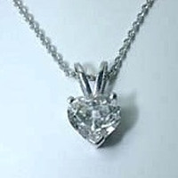 1.53ct Heart shape Diamond Pendant Necklace 18kt White Gold JEWELFORME BLUE GIA certified