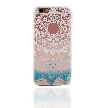 White Blue Datura flower Case for iPhone 6s 7 7Plus iPhone X 8 Plus & Gift Box