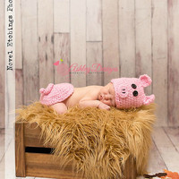 Pig Baby Tushy Cover Set Newborn Prop