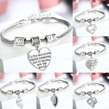 Crystal Heart Silver Plated Family Bangles