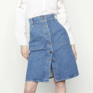 Fashion Sexy All-match Platoon Buttons High Waist Denim Skirt