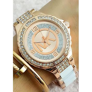 MK MICHAEL KORS Fashion Woman Casual Quartz Movement Watch Wristwatch F-Fushida-8899 Rose gold