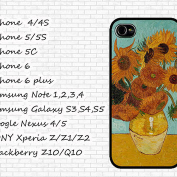 Van Gogh Sunflower Art Case Phone Case For iPhone 4/4s, 5C,5/5S,6/6 plus, Samsung Note 1/2/3/4,Google Nexus 4/5, Sony Xperia Z/Z1/Z2