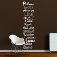 Cities of the World wall decal, wall words sticker, modern travel wall art design typography