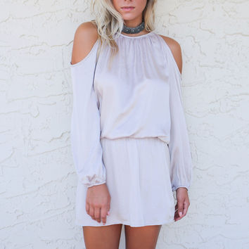 Sugar Blush Cold Shoulder Satin Dress
