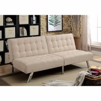 Arielle Contemporary Futon Sofa, Beige