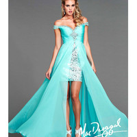 Mac Duggal 2014 Prom Dresses - Sky Blue Sequin & Chiffon High-Low Prom Gown