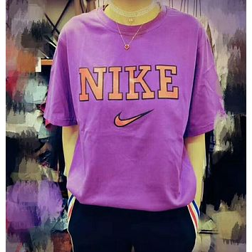 Nike Summer Colorful Women Men Tee Shirt B-YF-MLBKS Purple