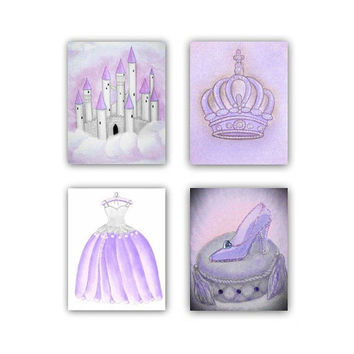 Princess Wall Art Cinderella SET OF 4 Prints, Princess Decor, Baby Girl Nursery, Princess Prints, Castle, Crown, Princess Art for children