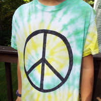 Unique Tie-Dye Peace Sign T-shirt, adult S, Hippie Gift, Tie Dye Clothes, Tiedye Shirt, Peace Tshirt, Boho Clothing, Festival Wear Teen Gift