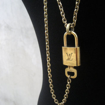 Louis Vuitton Padlock And Key Necklace - Authentic Vintage Louis Vuitton Unisex Necklace