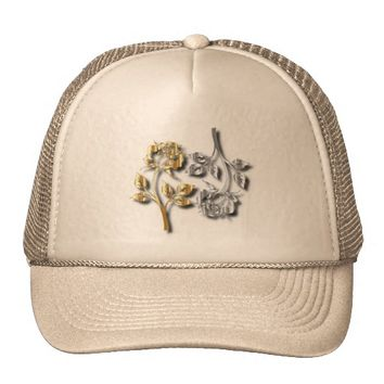 Two Golden And Silver Roses With Shadows Trucker Hat