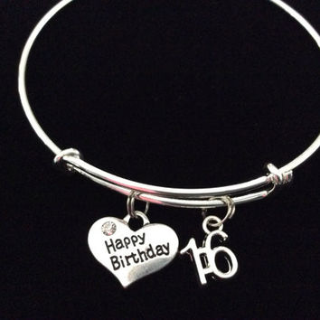 Teenager Happy Birthday 16th Expandable Charm Bracelet Adjustable Bangle Gift (Other Numbers Available)