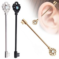 1PC Key Industrial Barbell Earring