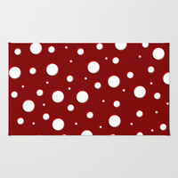 Red mushroom pattern, asymetric shadowed polka dots, mixed circles size, vintage themed, classic Rug by Casemiro Arts - Peter Reiss