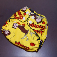 Cloth Diaper All-in-Two with Hemp Insert - Curious George