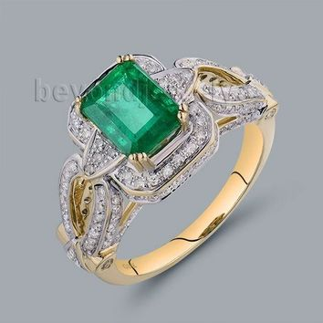 Vintage Emerald 7x9mm Solid 14Kt Yellow Gold  Emerald Mens Wedding Rings