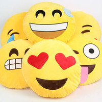 Soft Emoji Smiley Emoticon Yellow Round Cushion Pillow Stuffed Toy Doll
