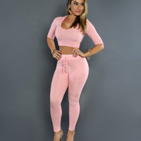 Pink Crop Hooded Top and Drawstring Pants
