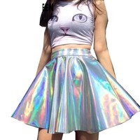 Holographic Iridescent Mini Skirt