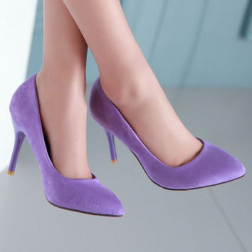 High Heels Ladies Shoes Flock Pointed Toe Women Pumps Shoes Woman High Heels Large Size 9 10 43 Blue Purple