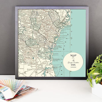 Georgia Shoreline Map Framed print - matte poster print, wall decor, travel, maps, USA, Georgia, Atlantic