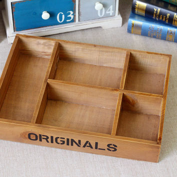 Home Decor Wooden Big Size Storage Weathered Vintage Tray [6282856070]