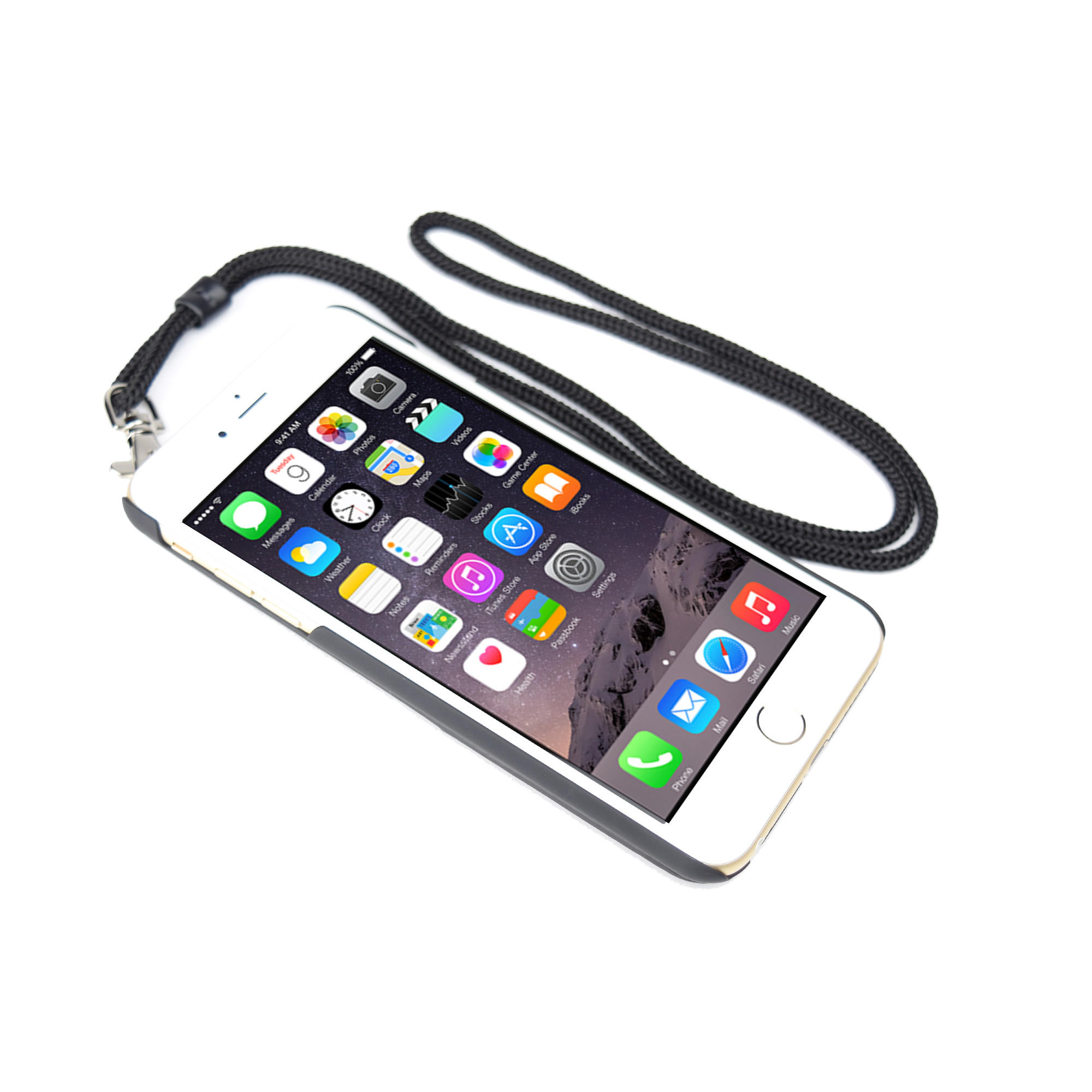 low priced 05835 d91e7 iPhone 6 Plus / 6s Plus Clip Leather Case with Wristlet and Neck Lanyard