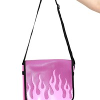 Pink Flame Fishnet Cross-Body Bag