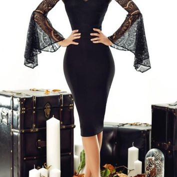 Black Patchwork Lace Off Shoulder Bell Sleeve Bodycon Elegant Banquet Party Midi Dress