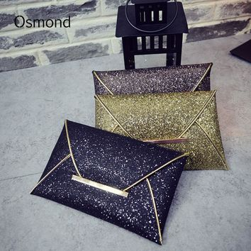 Osmond Women Envelope Bag Sequins Evening Clutch Brand Black Handbag Sparkling Party Bag Solid Wedding Day Clutches Gold Purses