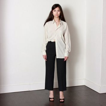 Charcoal Gray Plaid High Rise Trousers / XS
