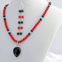Onyx Coral Necklace Earrings Set Designer Natural Stone