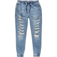 River Island MensLight wash denim ripped drawstring joggers