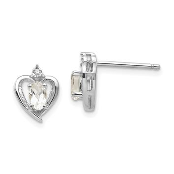 14k White Gold Diamond & Genuine White Topaz Heart Stud Earrings
