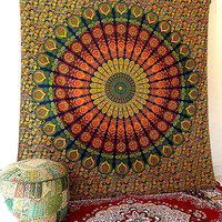 LARGE hippie tapestry indian mandala wall hanging throw bohemian boho bedding bedspread cover floral wall decor