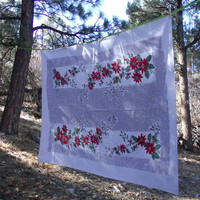 Vintage Poinsettias And Pine Boughs Tablecloth