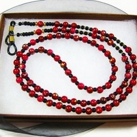 Eyewear Chain, Hand Crafted with Black, Gold and Red Speckled Beads