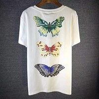 GUCCI Dragonfly Fashion Embroidery Round Neck Tunic Shirt Top Blouse