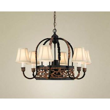 Hi-Lite H-76Y-D-BK01-PA-COP-W-FS Napa Black Leather Lighted Pot Rack with Fabric Shades