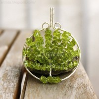 Tree of Life pendant necklace Peridot wire wrapped by Arctida