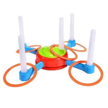 Electric Rotating Ring Toss Game with Lights and Music Children Family Game