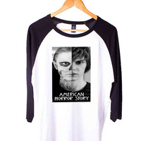 American Horror Story Tate Langdon Evan Peter Short Sleeve Raglan - White Red - White Blue - White Black XS, S, M, L, XL, AND 2XL*AD*