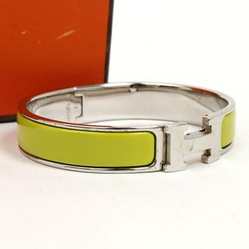 Auth HERMES Clic Clac PM Bangle Bracelet Enamel Lime Green Silver #6120