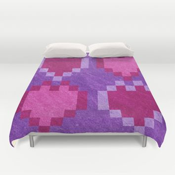 Pink Purple PIxel Hearts Duvet Cover by Likelikes | Society6