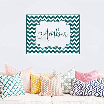 Chevron Frame with Personalized Monogram Custom Name Vinyl Wall Words Decal Sticker Graphic