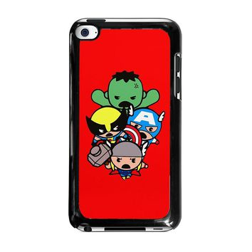 KAWAII CAPTAIN AMERICA HULK THOR WOLVERINE Marvel Avengers iPod Touch 4 Case Cover