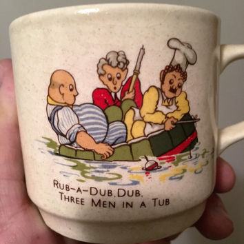 "Vintage 1970s Johnson of Australia Stoneware Cup and Saucer ""Rub-A-Dub, Dub, Three Men in a Tub"" / Vintage Nursery Rhyme / Mug"